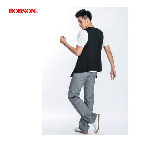【BOBSON】男款人字斜紋伸縮直筒褲(淺灰1740-82)