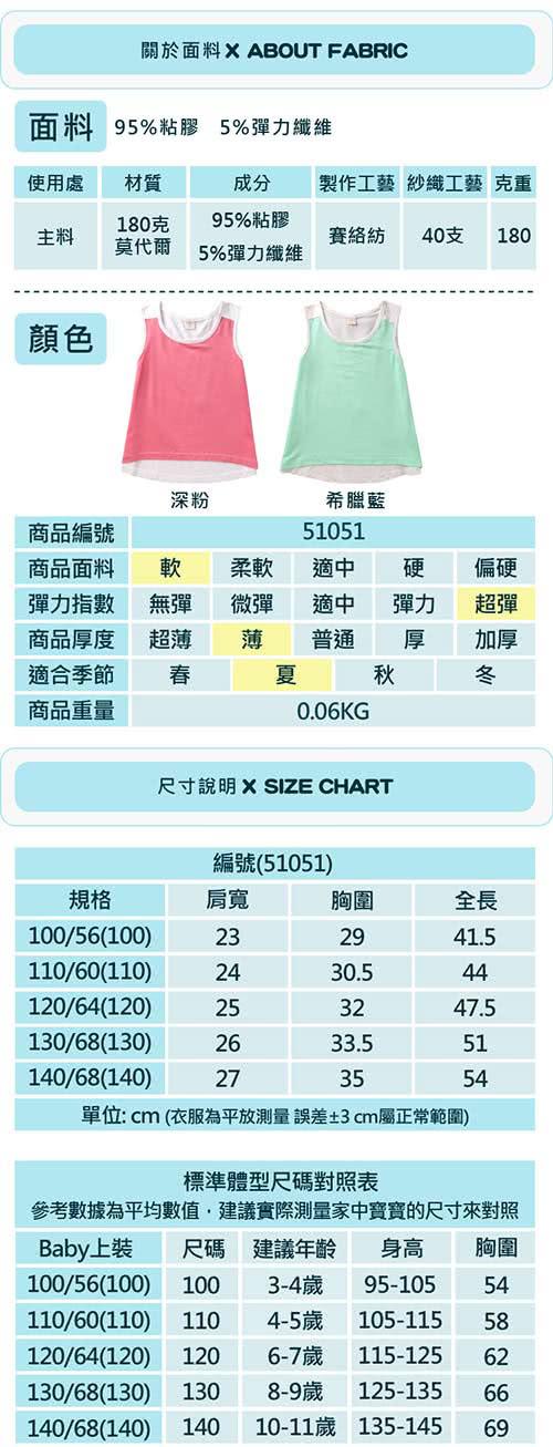 【baby童衣】女童上衣 無袖A字拼色背心 51051(共二色)