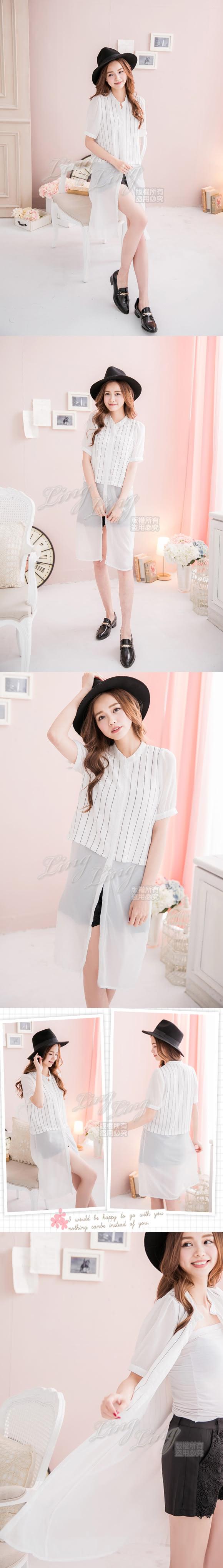 【lingling】內雪紡直條紋假兩件襯衫長上衣PA2213(時尚白)