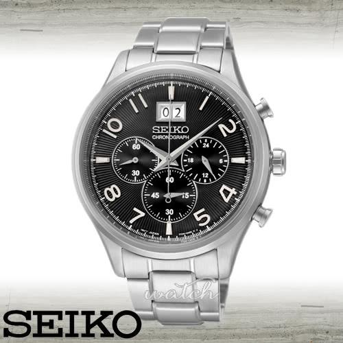 【SEIKO 精工】不敗錶款_經典紳士_三眼不鏽鋼男錶(SPC153P1)