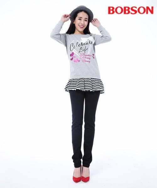 【BOBSON】女款低腰膠原蛋白拉毛小直筒褲(黑8139-87)
