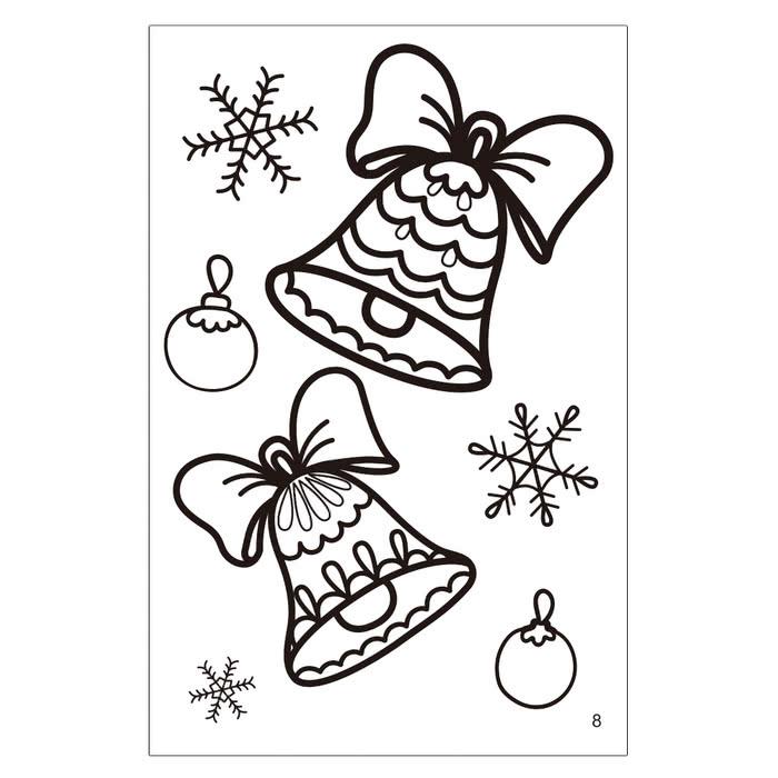 顽皮的姜饼人与小动物们,美丽的雪景与圣诞树,著色图案简单好画,线条