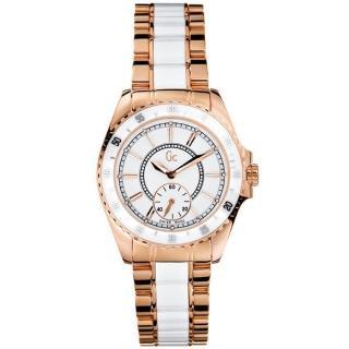 Gc GUESS玫瑰金奢華時尚陶瓷錶(M)