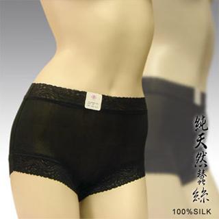 賽凡絲純蠶絲蕾絲平口蠶絲褲-黑色