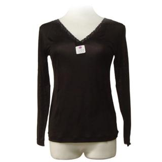賽凡絲純蠶絲V領蕾絲蠶絲衛生衣-黑色