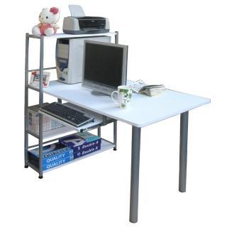 【美佳居】80X120公分寬-4層置物架型-電腦桌(含鍵盤抽)(三色可選)
