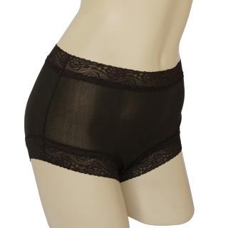 賽凡絲純蠶絲蕾絲平口蠶絲褲-黑色2件組