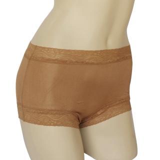 賽凡絲純蠶絲蕾絲平口蠶絲褲-駝色2件組