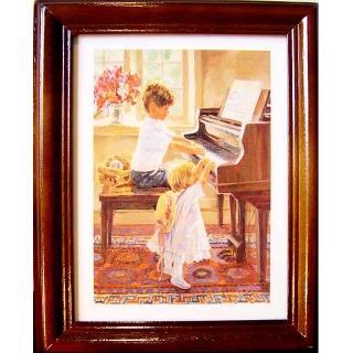 【開運陶源】《弟弟妹妹彈鋼琴》原木鑰匙盒壁飾