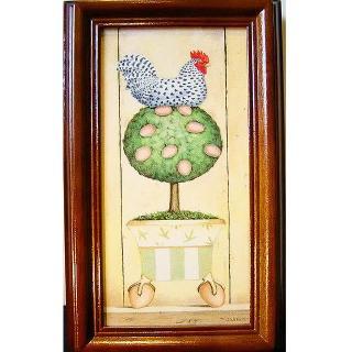 【開運陶源】《金雞下蛋-向右》原木鑰匙盒壁飾