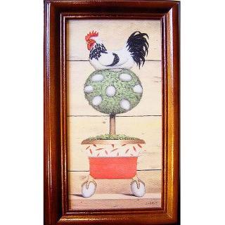 【開運陶源】《金雞下蛋-向左》原木鑰匙盒壁飾