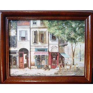 【開運陶源】《歐洲街景1》原木鑰匙盒壁飾