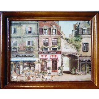 【開運陶源】《歐洲街景2》原木鑰匙盒壁飾