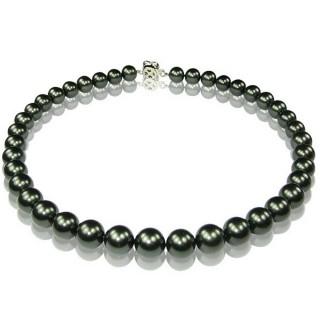 (小樂珠寶)3A正圓漂亮的南洋深海貝珍珠項鍊*黑綠色