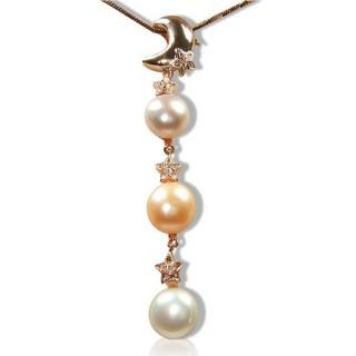 【小樂珠寶】玫瑰金天然珍珠墜子*月亮三珠垂墬款