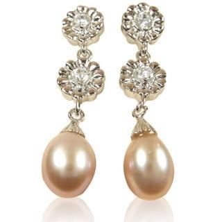 【小樂珠寶】絕美天然珍珠耳環*雙美花鑽款