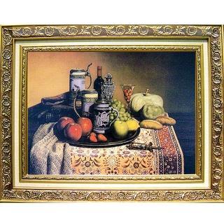 中幅柔美系列--靜物~水果麵包葡萄酒