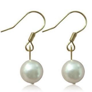 (小樂珠寶)3A正圓漂亮南洋深海貝珍珠耳環*白色