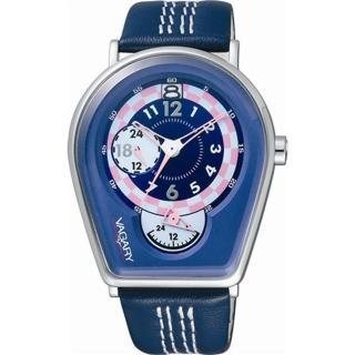 (VAGARY)馬蹄造型皮帶錶(紫藍)