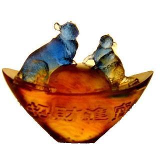 【開運陶源】《鼠來寶》琉璃