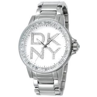 DKNY 閃亮誘惑晶鑽時尚腕錶(銀)