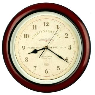 【DeeDa鐘情坊 82063】台製 日系熱銷 14吋仿亮紅木色復古時鐘(省電 台製 機心)