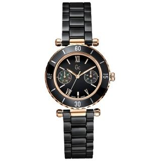 Gc 經典時尚雙眼陶瓷錶(黑金/小)