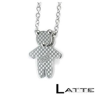 (LATTE)Baby Bear 銀色小熊不鏽鋼項鍊(女鍊)