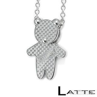 (LATTE)Baby Bear 銀色小熊不鏽鋼項鍊(男鍊)