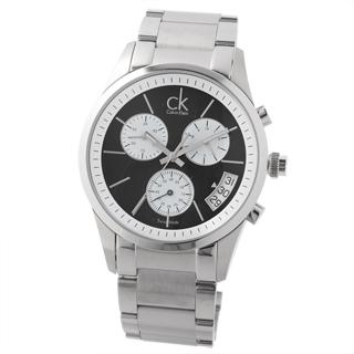 cK 三環計時扇型時尚腕錶(黑)