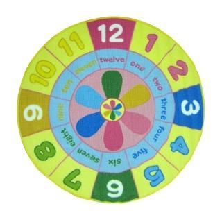 范登伯格 活潑逗趣時鐘兒童遊戲地毯(100cm圓)