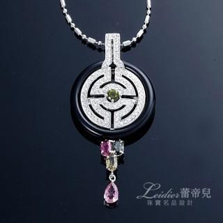 【蕾帝兒珠寶】-圓融天然黑瑪瑙碧璽墜