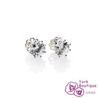 【約克精品】貴婦必備方晶鋯石包銠白金鈦金屬針式耳環(SGS認證)
