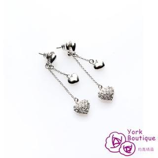【約克精品】兩種心情施華洛元素晶鑽包銠金鈦金屬針式耳環(SGS認證)