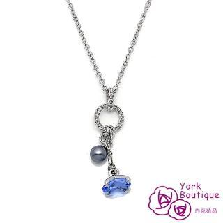 【約克精品】藍色圓舞曲施華洛元素晶鑽包銠金項鍊(SGS認證)
