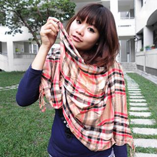 【Lus.G】個性棉麻格菱紋圍巾共5色