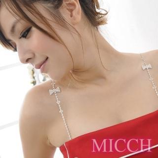 【MICCH】臺灣製 氣質甜心蝴蝶結捷克鑽石肩帶