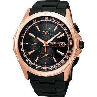【WIRED】極限玩家三眼計時腕錶-玫塊金/IP黑(7T82-X002X)