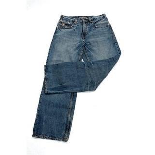 『摩達客』美國進口人氣嘻哈Jay Z品牌( Rocawear )OSH 藍色直筒刷舊牛仔褲