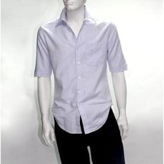 【摩達客】美國進口Solis白直紋5分袖合身休閒襯衫