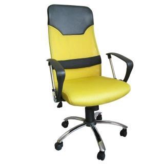 【美佳居】高級D型扶手(超透氣網布高背椅+靠腰墊)鋼管腳電腦椅-主管椅(黃色)