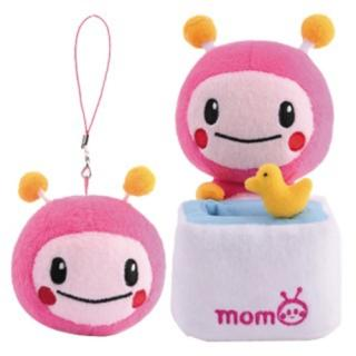 【MOMO】7吋momo絨毛娃娃置物座+2.5吋momo拭鏡吊飾