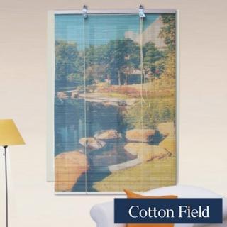 棉花田(池畔)彩色天然竹捲簾(90x160cm)