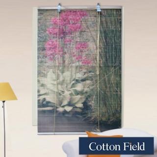 棉花田(花卉)彩色天然竹捲簾(90x160cm)