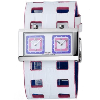 VAGARY 摩登交織雙時區個性錶(白)