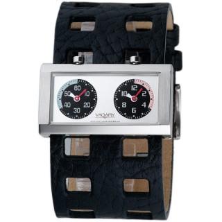 VAGARY 摩登交織雙時區個性錶(黑)