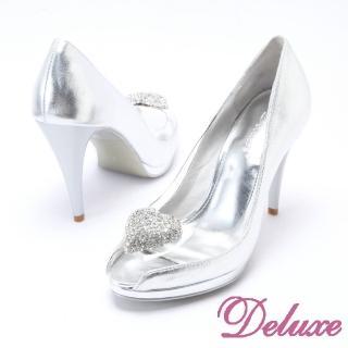 【☆Deluxe☆】巴黎名媛-愛心水鑽透明魚口高跟鞋(★亮麗銀)