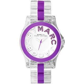 【Marc Jacobs】MBMJ 繽紛晶鑽時尚玻麗腕錶-透明/紫(MBM4550)