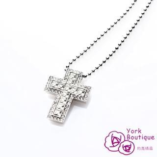 【約克精品】時尚精選施華洛元素晶鑽包銠金十字架項鍊(SGS認證)