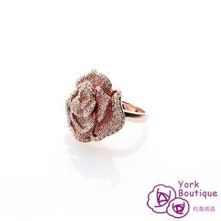 【約克精品】經典玫瑰LOGO施華洛元素晶鑽鍍22K玫瑰金戒指(SGS認證)